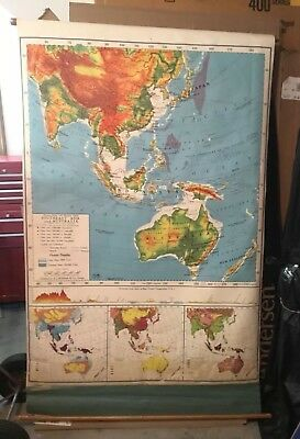 c1959  A.J. Nystrom & Co. Large School Map--Australia & Southeast Asia
