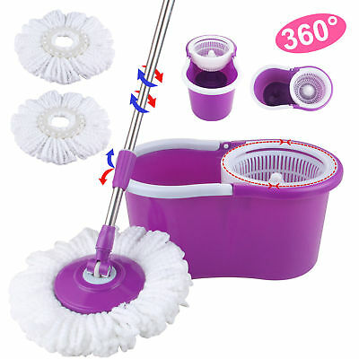 360° Easy Magic Floor Mop Bucket 2 Heads Microfiber Spin Spinning Rotating Head
