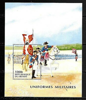 1997 Benin miniature sheet featuring military uniforms that is unmounted mint