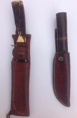 Lot Of Two Vintage Knives Schrade Usa 498 And Hand Made Knife