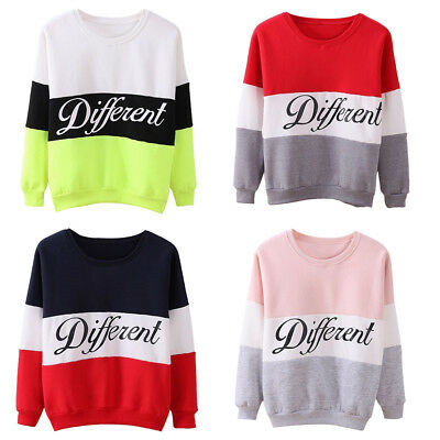 Women Long Sleeve Hoodies Sweater Casual Diffferent Printed Mix Color Pullover