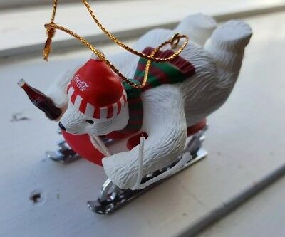 Coca Cola Polar Bear Collection Christmas Ornament 1994 Sledding Polar Bear