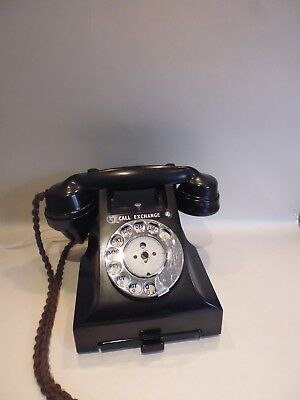 Vintage Black Bakelite Gpo Rotary Dial Telephone No. 312F - Working Order