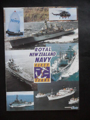 Royal New Zealand Navy FIFTY YEARS NAVAL REVIEW 1941 - 1991 pamphlet / chart