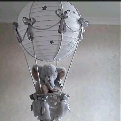 Cute Elephant in Hot Air Balloon Light Shade    Made to Order