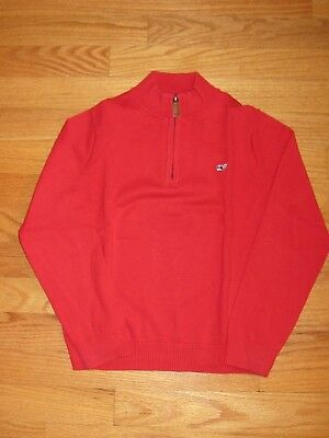 EUC Vineyard Vines Boy Whale Christmas Holiday 1/4 Zip Red Sweater Shirt Top 7