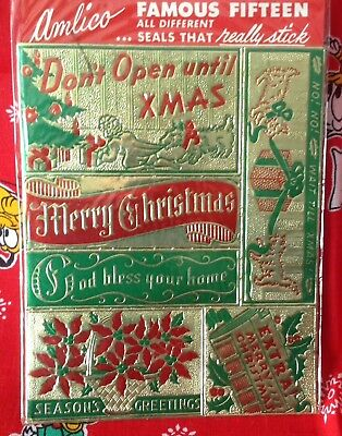 Vintage 40s 50s Amlico Famous 15 Christmas Seals Stickers New in Package