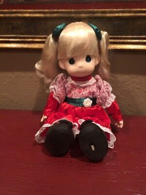 """Precious Moments in Christmas Dress Blonde 15"""" Doll"""