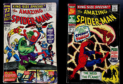 Amazing Spider-Man King Size Special Annuals #3 3.5, #4 4.0 Hulk Torch!