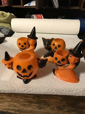 Lot Of 4 Vintage Rosbro Plastic Halloween Candy Containers Witch Cat Jack O Lant