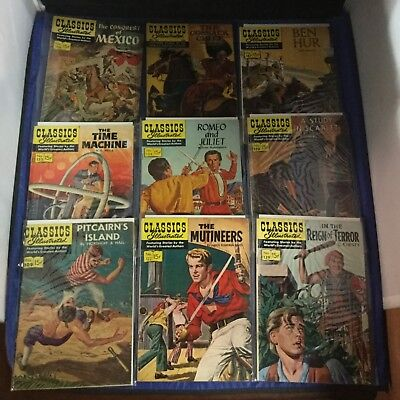 Classics Illustrated Comics Lot of 9 Issues ALL FIRST PRINTS Gilberton LOT A