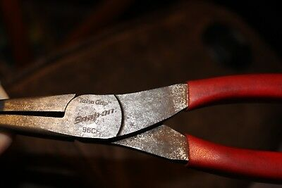 """Snap on 96CF 7-3/4"""" Long Needle Nose Pliers Red Vinyl Grip USA"""