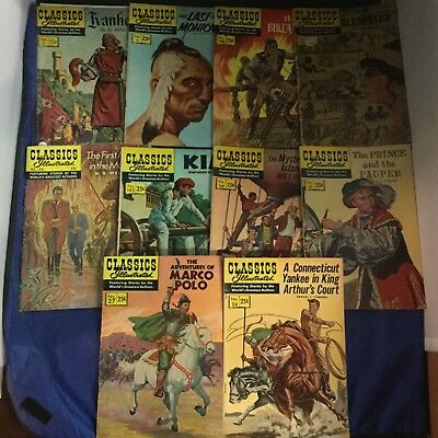 Classics Illustrated Comics 10 Issue Lot - Vintage RARE - Gilberton Lot O