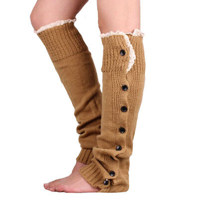 Brown Leg Warmers with Lace and Buttons