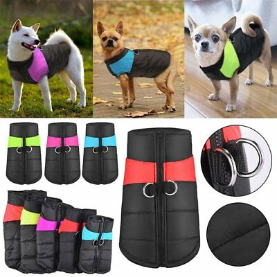 Dog Pet Warm Insulated Padded Coat Winter Puffer Jacket Zip Shirts Clothes Vest