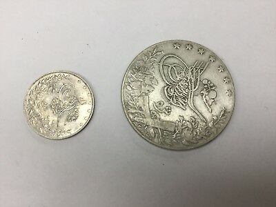 Egypt 1327/3 (1911) 1 & 5 Silver Qirsh, Two Coins, Nice, Mohammed V
