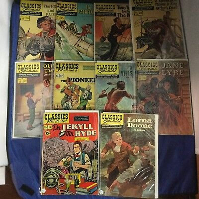 Classics Illustrated Comics 10 Issue Lot - Vintage RARE - Gilberton Lot K