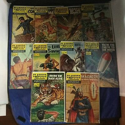 Classics Illustrated Comics 10 Issue Lot - Vintage RARE - Gilberton Lot H