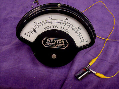 Weston DC Volt Meter - Large - Heavy - EXCELLENT  CONDITION - 0 to 75 Volts