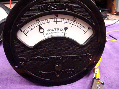 Weston DC Volt Meter - Large - Heavy - EXCELLENT  CONDITION - 0 to 40 Volts