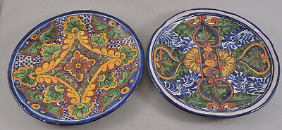 Set of 2 Vintage REA TALAVERA Hand Painted Mexico Mexican Pottery Platters