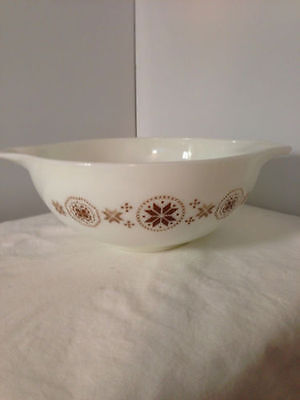 Pyrex Town and Country White Brown Snowflake Pattern #444  4 Quart Nesting Bowl
