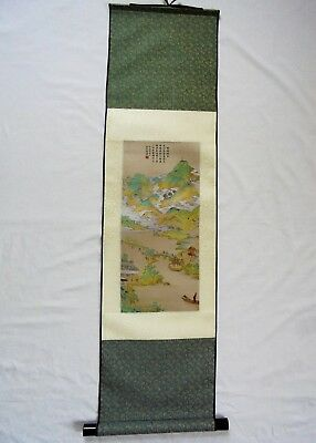 "Chinese Hanging Scroll ""Twin Peaks Piercing The Cloud"""