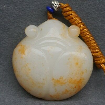 Chinese Exquisite Hand-carved cicada carving natural Hetian jade pendant