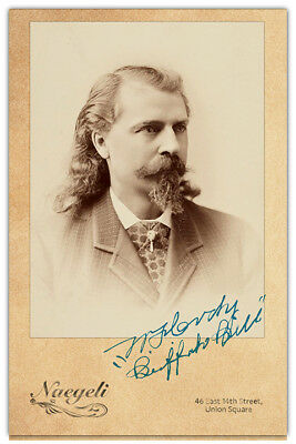 "WILLIAM F. ""BUFFALO BILL"" CODY Old West Legend Vintage Photo Cabinet Card RP 2"