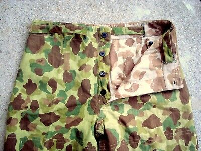 Vtg 1944 WWII USMC P44 Frogskin Camouflage HBT PANTS Trousers reversible 36