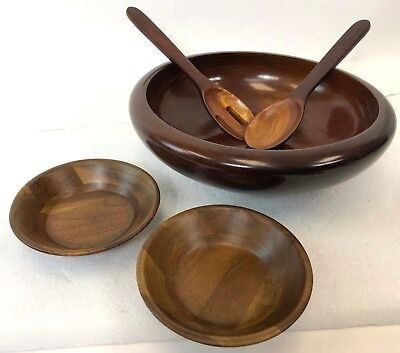 "Vintage 12"" Fritz Mevs Haiti Solid Turned Mahogany Wood Salad Set w/ Oak Bowls"