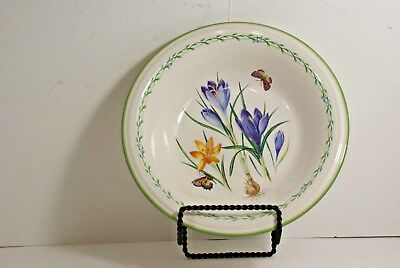 "Mikasa Studio Nova Garden Bloom Pansies Butterfly Floral 8"" Pasta Bowls Lot 4"