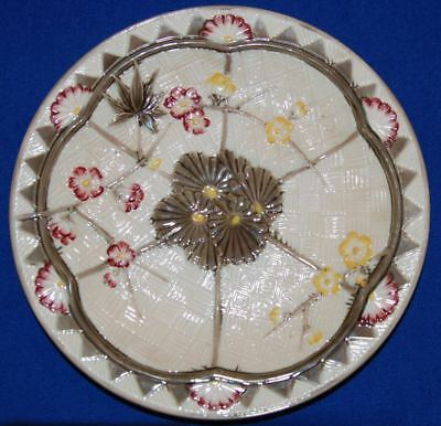 "Antique Wedgwood Majolican Fans and Flowers Plate Shallow Bowl 8 3/8"" 3250"