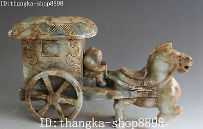 27CM China Natural Old Jade Handwork Carving FengShui Ancient Horse Car Statue