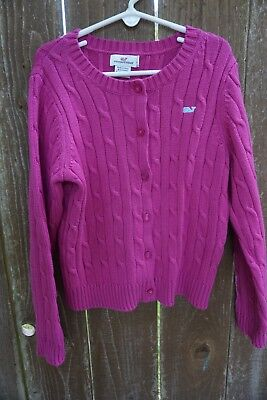 Vineyard Vines Girl's Hot Pink Cable Knit Cardigan Size S (7-8) EUC