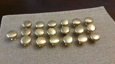 """Lot of 19 Solid Brass Round Cabinet Knobs 1-1/4"""""""