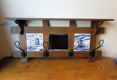 Vintage Arts & Crafts Mission Style Wall Coat Hat Rack with Delft Style Tiles