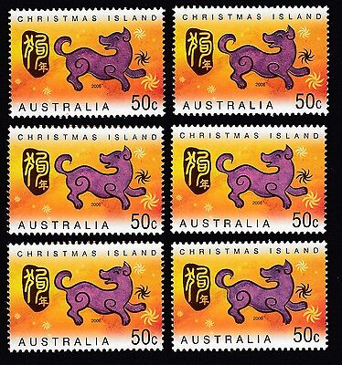 2006 Christmas Island Year Of The Dog 6 x 50c stamps  MUH