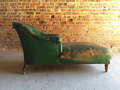 Chaise Longue Sofa Chair Daybed Antique Napolean III Leather For Restoration