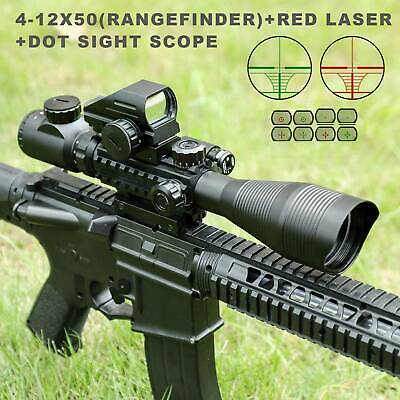 Pinty 4-12X50EG 3in1 Rangefinder Reticle Rifle Scope Dot Sight Scope & Red laser