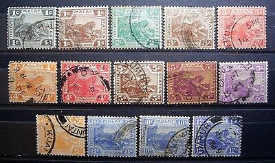 Malay Federated States - 14 Used Tiger Stamps, Great Lot.
