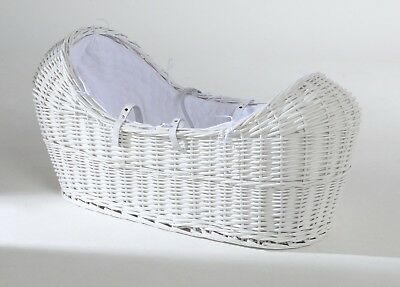 White Re-born Dolls Wicker Bassinet Izzypod Moses Basket Dimples Popcorn BNIP