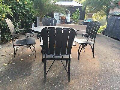 Arthur Umanoff patio set scroll design Rare Mid Century Vintage Wrought Iron