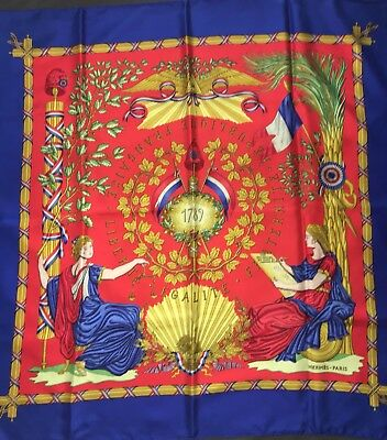 Carré Foulard hermes 90 Cms Soie Republique France 1989 Collector Scarf 35  Rare 4e2ad23a3e6