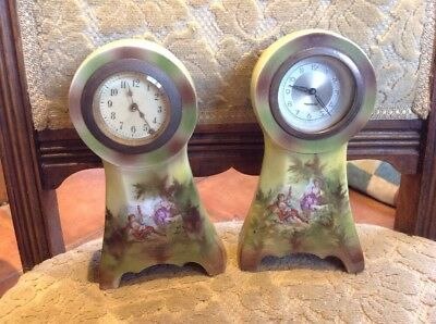 Pair of vintage / Antique Porcelaine mantle clocks for spares parts or repair