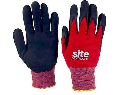 Site Dextrogrip Nitrile Foam-Coated Work Gloves Red / Black Large
