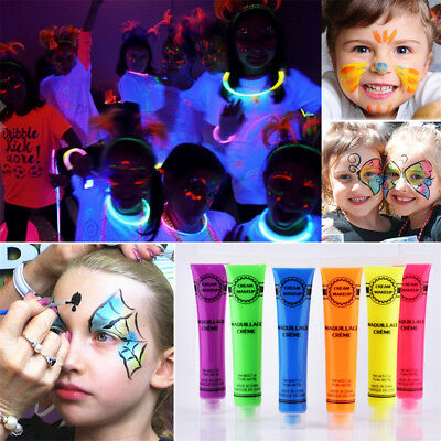 Glow In The Dark Neon Fluorescent Makeup Face Body Art Paint Christmas Party DIY