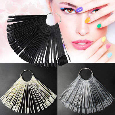 50 Clear False Display Nail Art Fan Wheel Polish Practice Color Pop Tip Stick UK