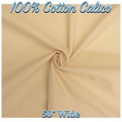 "CALICO FABRIC 100% Cotton Natural Calico 50""/127cm Wide Material (Per Metre)"