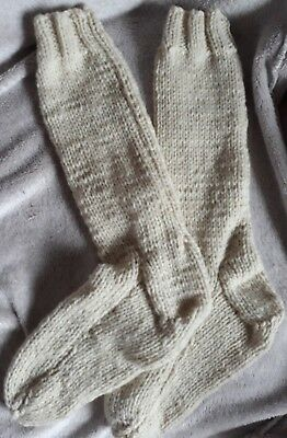 hand knitted 100% natural undyed wool socks uk adult size 7-11